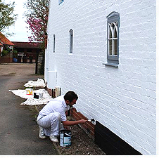 Painting the exterior side wall