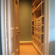 A refurbished walk in wardrobe