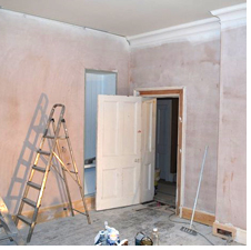 Plastering walls at Boothby Manor