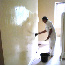 Painting an interior wall at Boothby Manor
